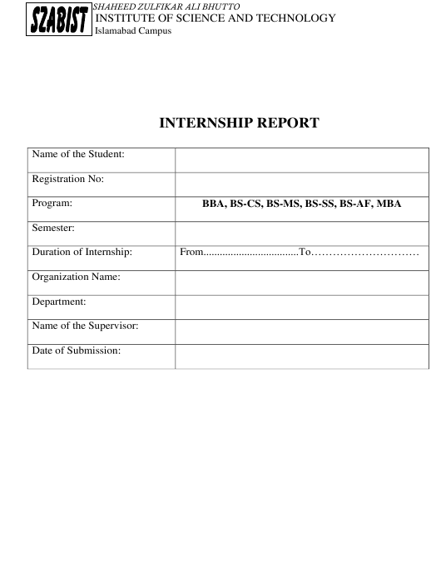 Internship Report Template - Shaheed Zulfikar Ali Bhutto Institute