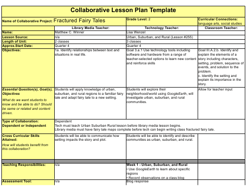 """Collaborative Lesson Plan Template"" Download Pdf"
