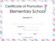 """Elementary School Certificate of Promotion Template"""