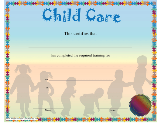 """""""Child Care Training Certificate Template"""" Download Pdf"""