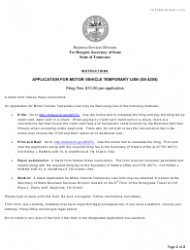 Form SS-4258 Application For Motor Vehicle Temporary Lien - Tennessee
