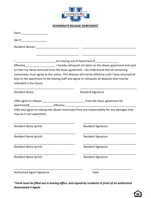"""Roommate Release Agreement Template - Homestead U"" Download Pdf"
