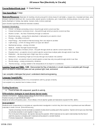 """Electricity in Circuits 5e Lesson Plan Template"""