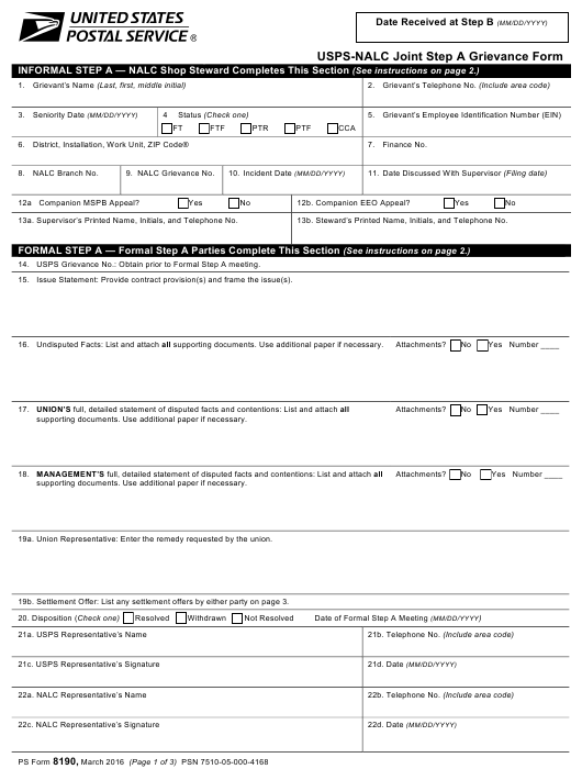 Ps Form 8190 Download Fillable Pdf Usps Nalc Joint Step A Grievance