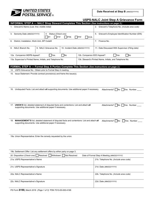 PS Form 8190 Printable Pdf
