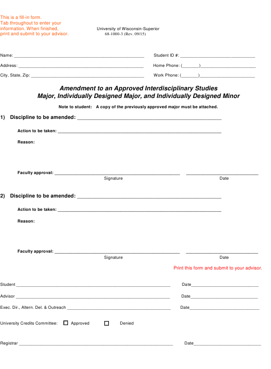 """""""Amendment to an Approved Interdisciplinary Studies Major, Individually Designed Major, and Individually Designed Minor - University of Wisconsin"""" Download Pdf"""