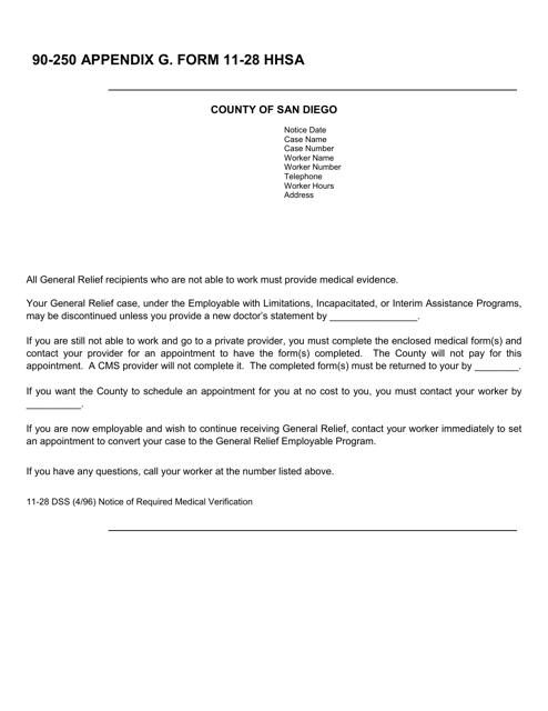 Form 11-28 Download Printable PDF, 90-250 Appendix G