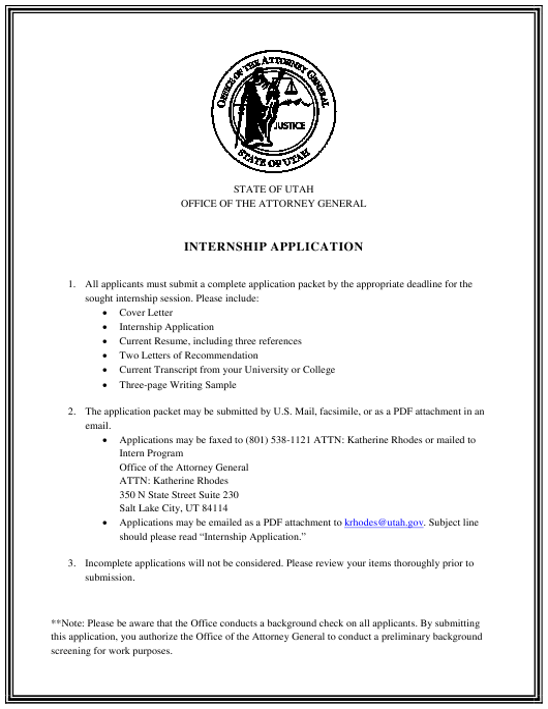 """Internship Application Form"" - Utah Download Pdf"