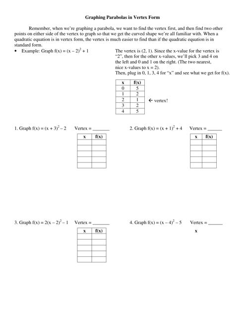 Graphing Parabolas in Vertex Form Worksheet Download