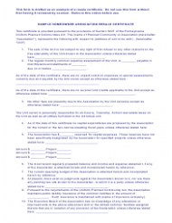Sample Homeowner Association Resale Certificate Template - Pennsylvania