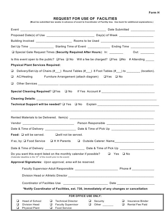 Request Form for Use of Facilities Download Printable PDF ...