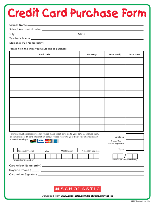 """Credit Card Purchase Form - Scholastic"" Download Pdf"