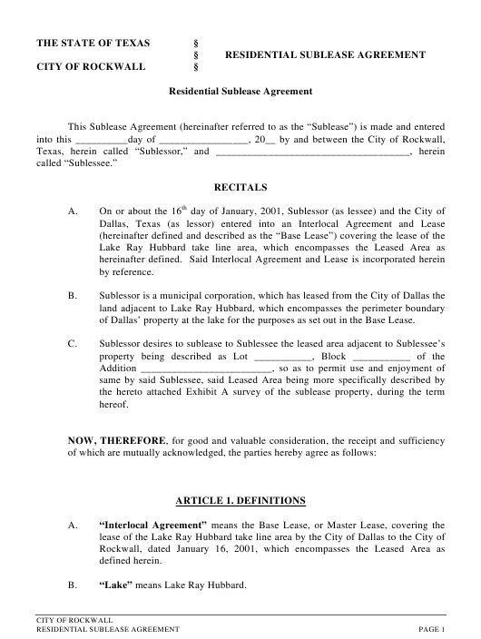 """Residential Sublease Agreement Form"" - City of Rockwall, Texas Download Pdf"