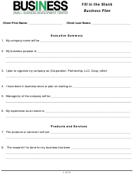 """Fill-In-the-Blank Business Plan Template - Small Business Development Center"""