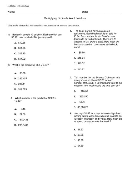 multiplying decimals word problems worksheet with answer key download printable pdf templateroller. Black Bedroom Furniture Sets. Home Design Ideas
