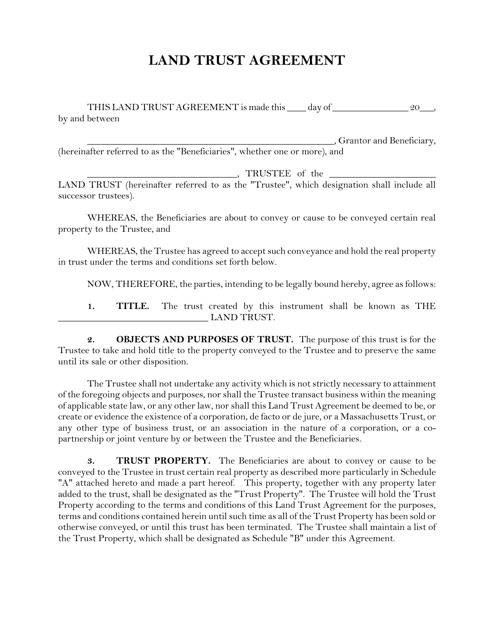 """Land Trust Agreement Template"" - Massachusetts Download Pdf"