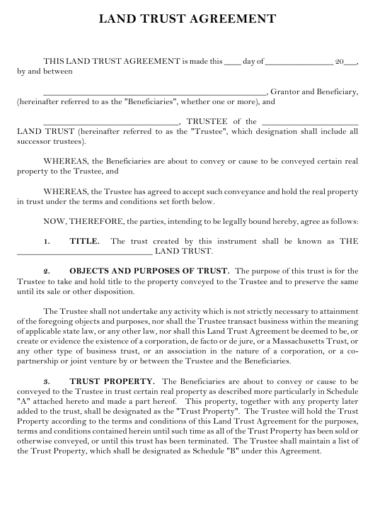 Land Trust Agreement Template Download Printable Pdf Templateroller