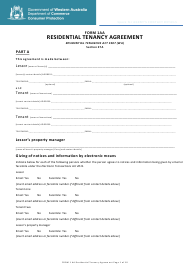 "Form 1AA ""Residential Tenancy Agreement"" - Western Australia, Australia"