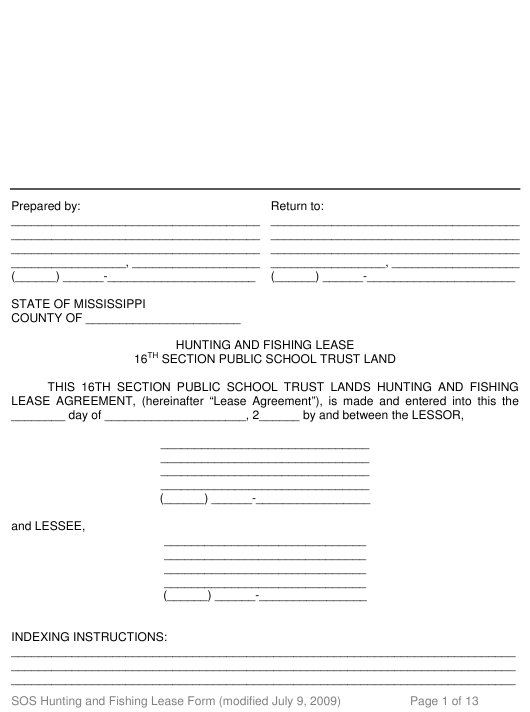 """Hunting and Fishing Lease Form - 16th Section Public School Trust Land"" - Mississippi Download Pdf"