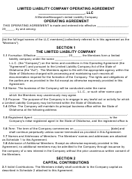 """Limited Liability Company Operating Agreement Template"" - Oklahoma"