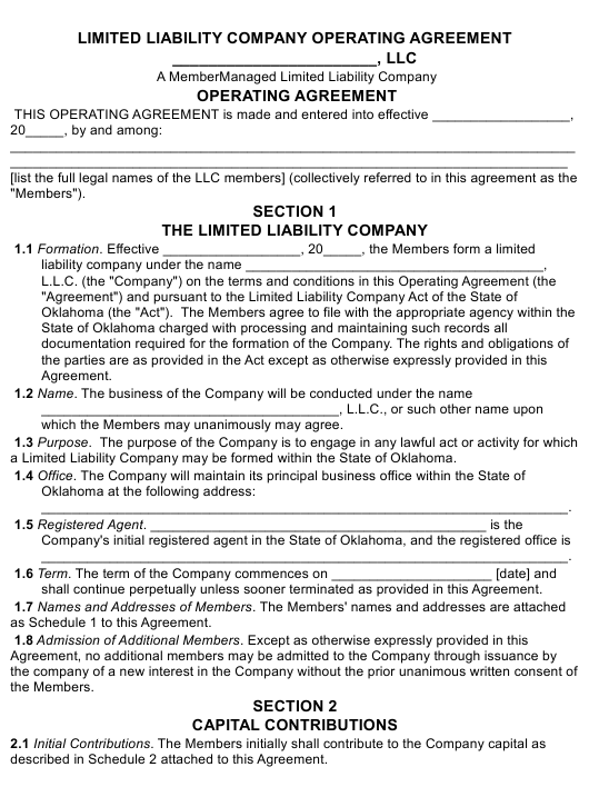 """Limited Liability Company Operating Agreement Template"" - Oklahoma Download Pdf"