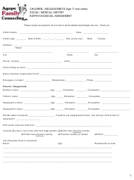 """Children/Adolescentes Biopsychosocial Assessment Form - Agape Family Counseling"""