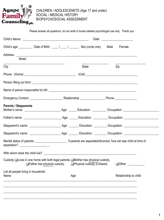 """Children/Adolescentes Biopsychosocial Assessment Form - Agape Family Counseling"" Download Pdf"
