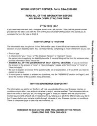 Form SSA-3369-BK Work History Report
