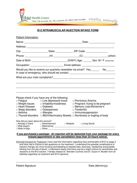 """Intramuscular Injection Intake Form - Vitae Health Center"" Download Pdf"