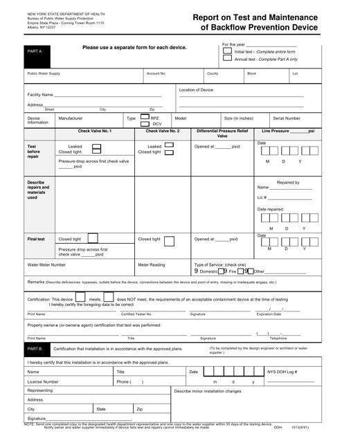 Form DOH-1013  Printable Pdf