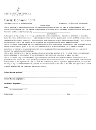 """""""Facial Consent Form - Aesthetic Medical Network"""""""