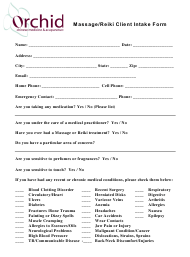 Massage/Reiki Client Intake Form - Orchid