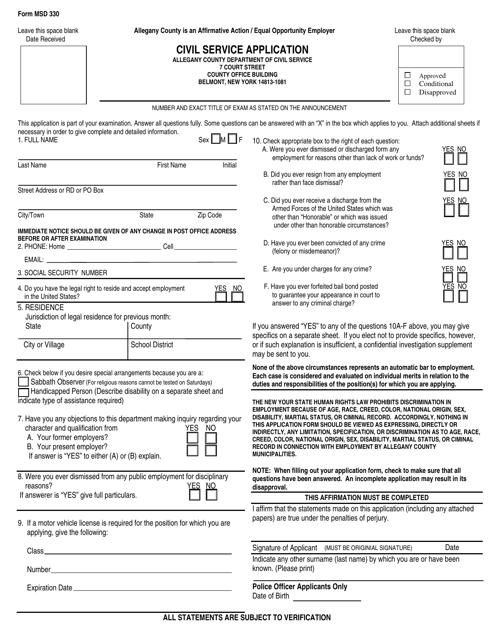 Form MSD330  Printable Pdf