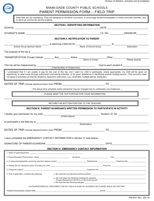"""Parent Permission Form for Field Trip - Miami-Dade County Public Schools"" Download Pdf"