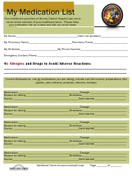 Personal Medication List Template - Harney District Hospital