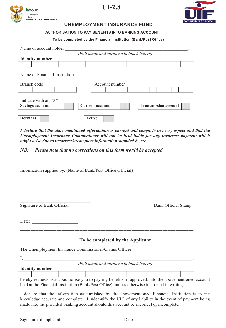 Form UI-2.8 Download Printable PDF or Fill Online Unemployment Insurance  Fund Authorisation to Pay Benefits Into Banking Account South Africa |  Templateroller