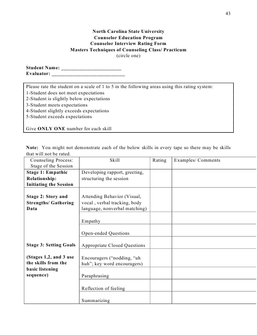 Counselor Interview Rating Form - North Carolina State University Download Pdf