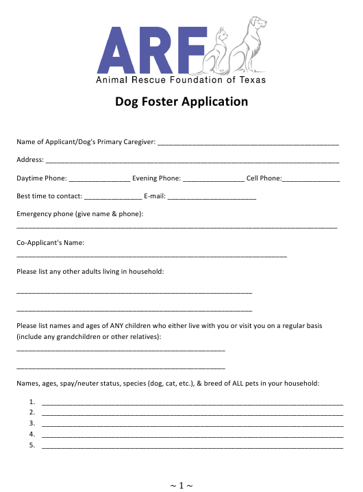"""""""Dog Foster Application Form - Animal Rescue Foundation of Texas"""" - Texas Download Pdf"""