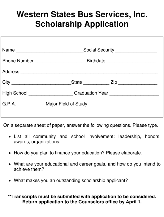 """""""Scholarship Application Form - Western States Bus Services, Inc."""" Download Pdf"""