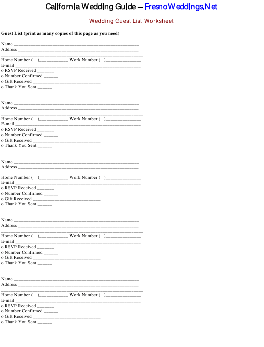 """Wedding Guest List Template"" - California Download Pdf"