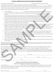 """Release, Idemnification and Hold Harmless Agreement Template - Sample"""