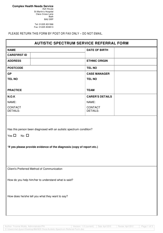 Autistic Spectrum Referral Form - St Martin's Hospital Download Pdf