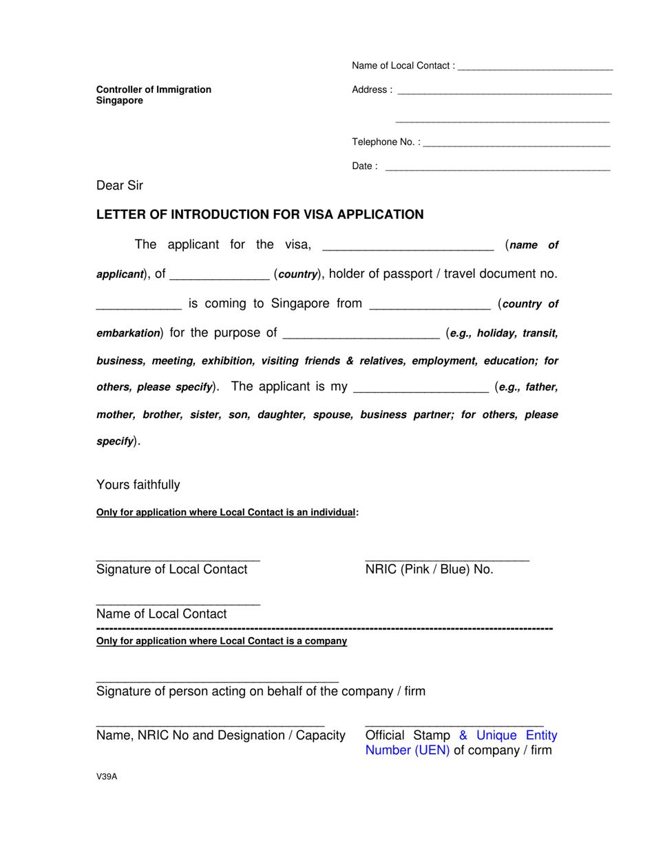 Form V39a Download Printable Pdf Or Fill Online Letter Of Introduction For Visa Application Singapore Templateroller