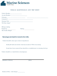 """""""Vehicle Maintenance and Trip Sheet - Marine Sciences Franklin College"""""""