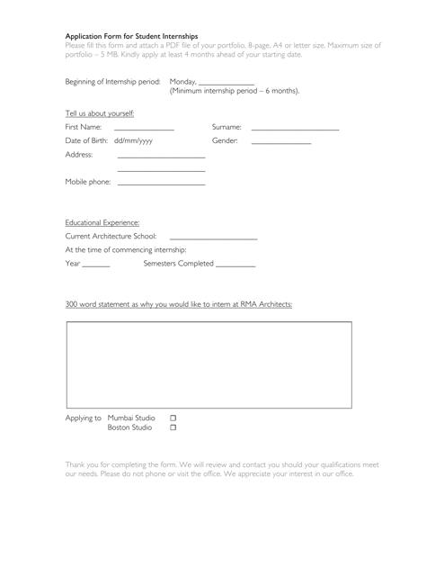 """Student Internship Form"" Download Pdf"