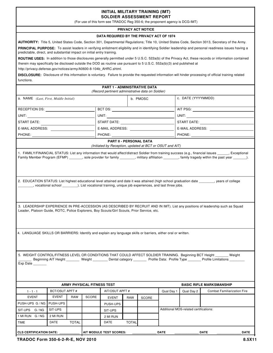 TRADOC Form 350-6-2-R-E Download Printable PDF or Fill ...