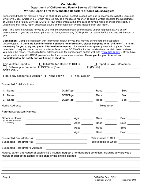 Form CPI-2  Printable Pdf