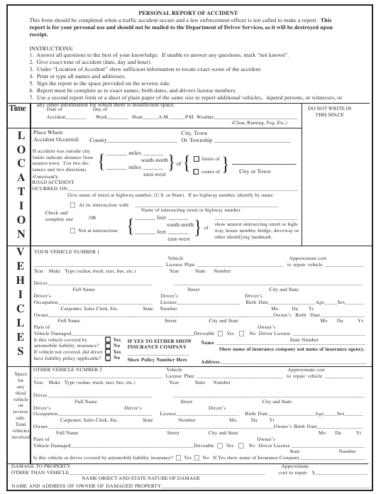 """""""Personal Report of Accident Form - Kennesaw State University"""" Download Pdf"""