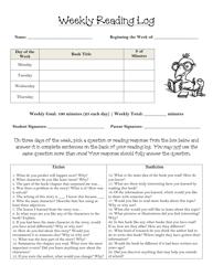 Weekly Reading Log Worksheet