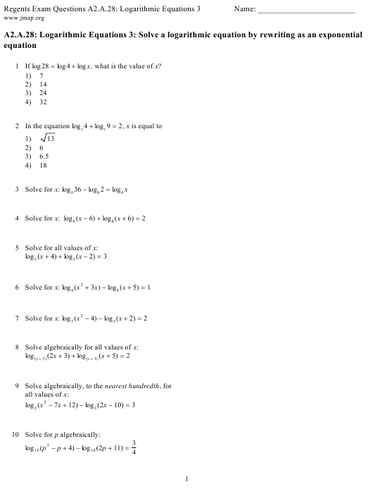 Logarithmic Equations Worksheet With Answers Download Printable Pdf